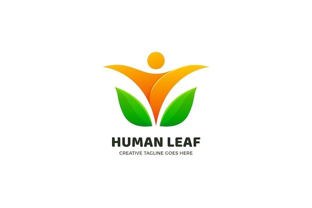 Gradienten-logo-vorlage der menschlichen natur Premium Vektoren