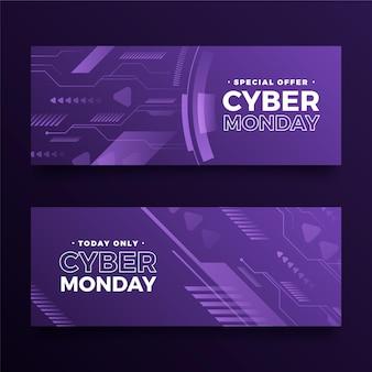 Gradiententechnologie cyber monday horizontale banner eingestellt