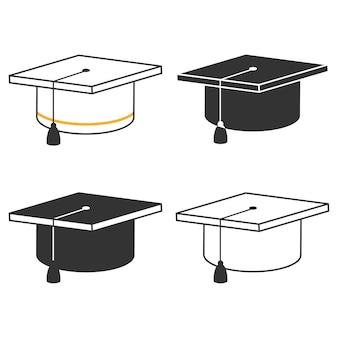 Graduate cap icons setzen isolierte illustration