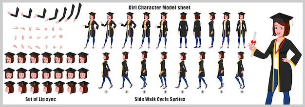 Graduate girl character-modellblatt mit laufzyklusanimationen und lippensynchronisation