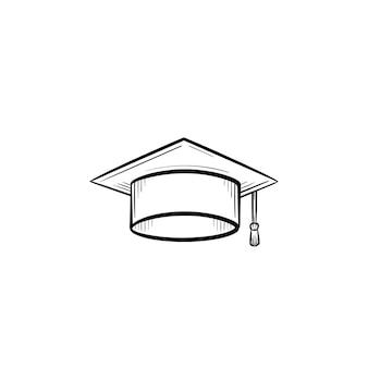 Graduation cap handsymbol gezeichneten umriss doodle. vektorskizzenillustration des abschlusshutes für druck, netz, handy und infografiken lokalisiert auf weißem hintergrund.