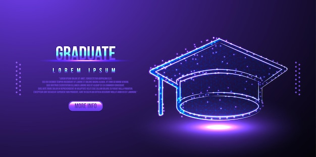 Graduiert, kappe low-poly-drahtmodell, polygonales design