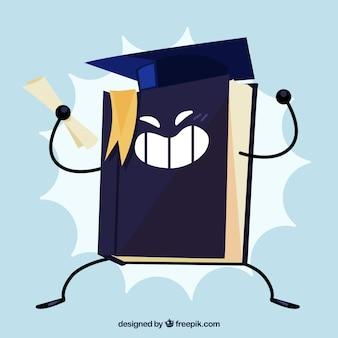 Graduierung hintergrund des buches mit diplom und graduierung cap