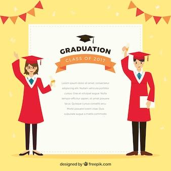 Graduierung hintergrund mit lächelnden studenten