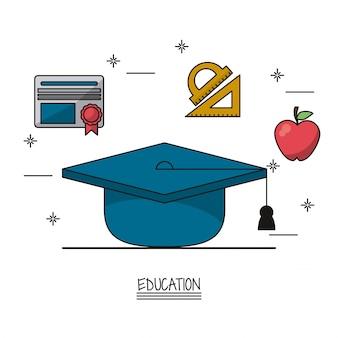 Graduierung kappe und ikonen der diplom-herrscher und apfel