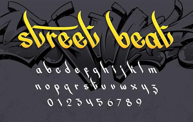 Graffiti-artalphabet auf schmutzhintergrund. satz straßenkunstartvektorbuchstaben.
