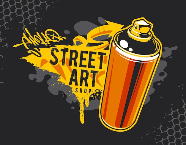 Graffiti-banner mit aerosol-spray-dose und street-art-design-elementen. schmutzige, wilde graffiti-vektorgrafiken.
