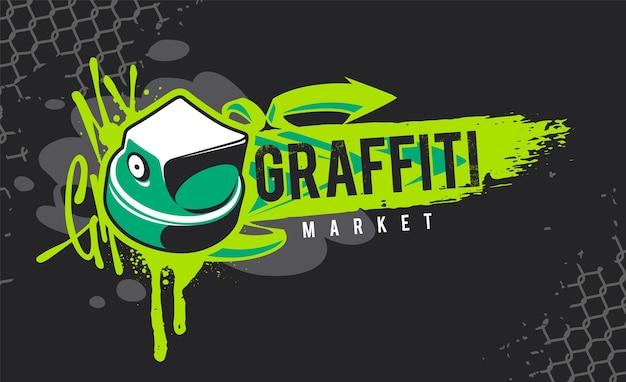 Graffiti-banner mit spray paint cap und street-art-design-elementen. schmutzige, wilde graffiti-vektorgrafiken.