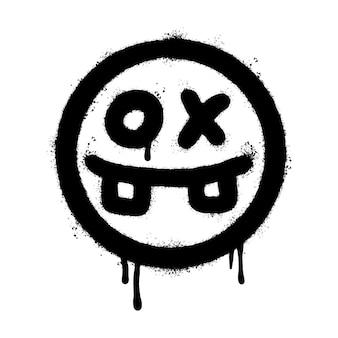 Graffiti beängstigend krankes gesicht emoticon gesprüht isoliert auf weißem hintergrund. vektor-illustration.