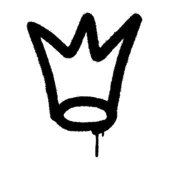 Graffiti-spray-krone-symbol mit overspray in schwarz über weiß. vektor-illustration.