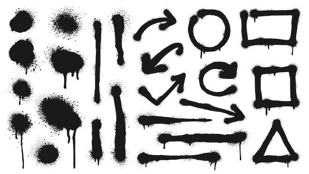 Graffiti-spray-linien, grunge-punkte, pfeile und rahmen. vektor-graffiti-punkt schmutzig, grunge-tinte schwarz, spritzfleck und tropfillustration