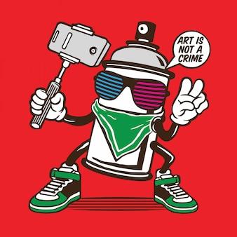 Graffiti-spraydose bomber selfie character design