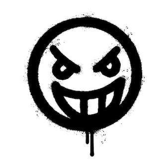 Graffiti wütendes gesicht emoticon gesprüht isoliert auf weißem hintergrund. vektor-illustration.