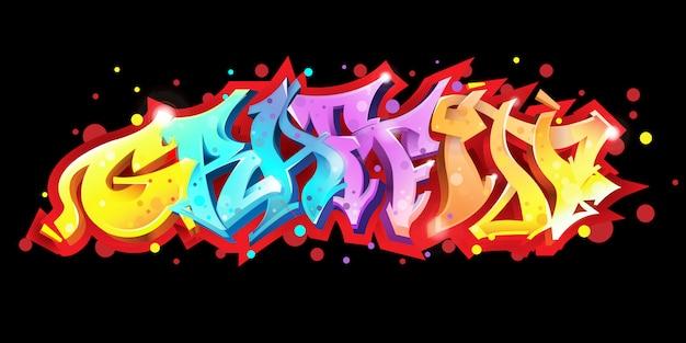 Graffitibeschriftung auf schwarzer hintergrund vektor-illustration
