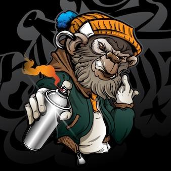 Graffiticharakter-hippie-affe, der eine sprühfarbe hält