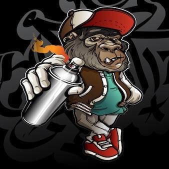 Graffiticharakter-hippie-gorilla, der eine sprühfarbe hält