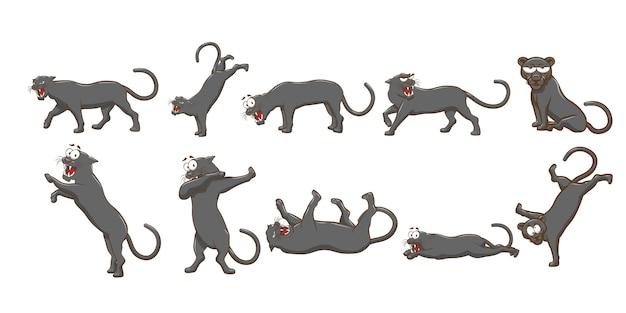 Grafik-clipart der panther-set-sammlung