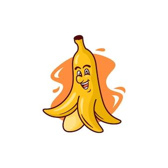 Grafik der bananenfrucht-maskottchenillustration, perfekt für logo, ikone oder maskottchen