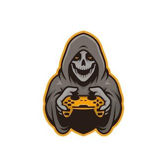 Grafik der maskottchenschädel-spielerillustration. perfekt für logo, ikone oder maskottchen