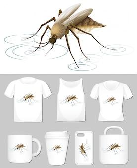 Grafik der mücke auf verschiedenen produktschablonen