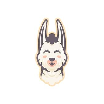 Grafik der niedlichen alpakaillustration des maskottchens, perfekt für logo, ikone oder maskottchen