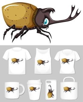 Grafik des käfers auf verschiedenen produktvorlagen
