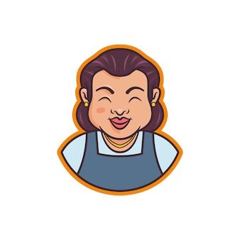 Grafik des maskottchens einer großmutterillustration, perfekt für logo, ikone oder maskottchen