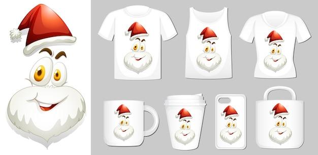 Grafik des weihnachtsmanns auf verschiedenen produktvorlagen