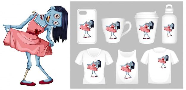 Grafik des zombies im rosa kleid auf verschiedenen produktschablonen