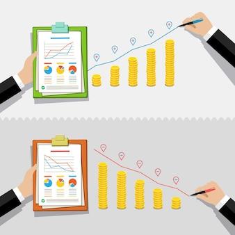 Grafik für geschäftskrise oder rezession. hand zeichnet eine rote linie auf goldmünzen.