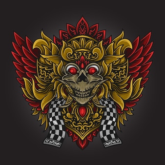 Grafik illustration und t-shirt design barong schädel gravur ornament