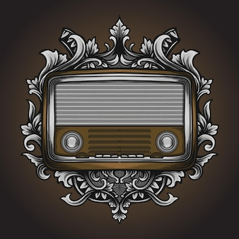 Grafik illustration und t-shirt klassische radio gravur ornament