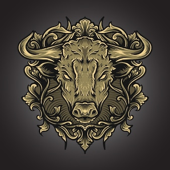 Grafik illustration und t-shirt stier gravur ornament