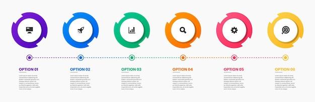 Grafik von designvorlagen für infografik-elemente mit symbolen und 6 optionen