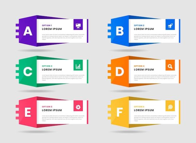Grafik von infografik-element-entwurfsvorlagen mit symbolen und alphabeten
