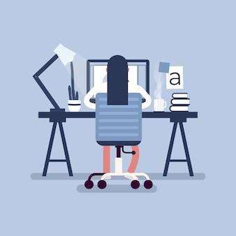 Grafikdesign-arbeitsbereich. designer, die auf dem schreibtisch sitzen, hintere ansicht.