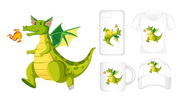 Grafikdesign auf verschiedenen produkten mit grünem drachen