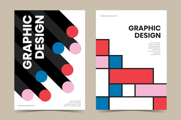 Grafikdesign-cover-kollektion im bauhaus-stil