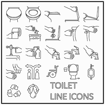 Grafikdesign der toilettenlinie ikonen für muster- und mediendekorationen
