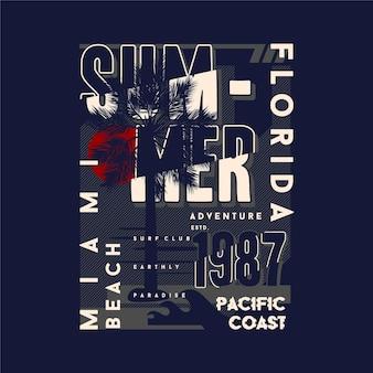 Grafikdesign des miami beach florida auf sommerthema mit palmenhintergrund