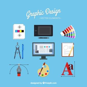Grafikdesign-elementsammlung in der flachen art