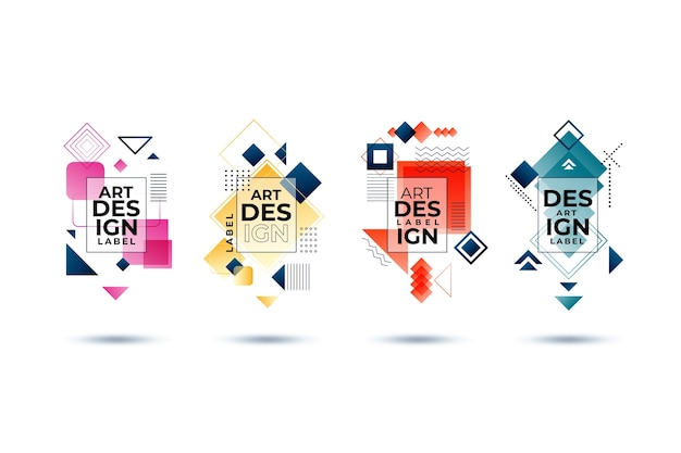 Grafikdesign-etiketten im geometrischen stil