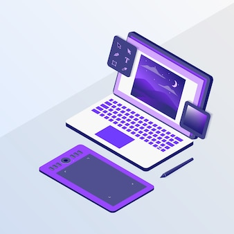 Grafikdesign oder designerkonzept mit laptop und skizzenstifttablettwerkzeugen mit isometrischem stil