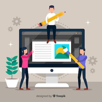 Grafikdesign-teamwork mit bildschirmhintergrund