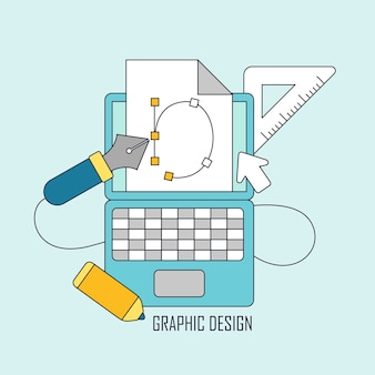 Grafikdesign-tools im thin-line-stil