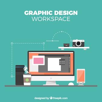 Grafikdesignarbeitsraumhintergrund in der flachen art