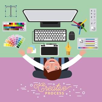 Grafikdesigner der frau, der kreativen prozess auf computer bearbeitet