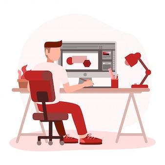 Grafikdesigner des mannes, der an computer arbeitet