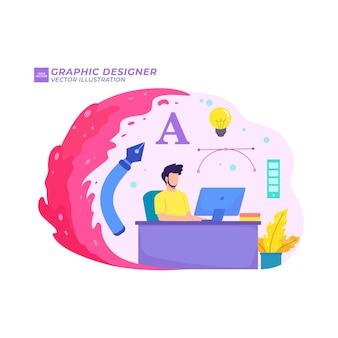 Grafikdesigner flache illustration kreativer freiberuflicher arbeitsplatzfreiberufler