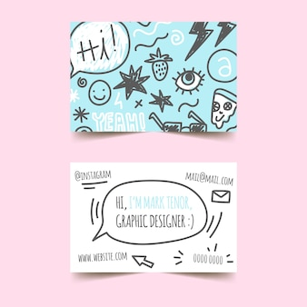 Grafikdesigner kritzelt visitenkarteschablone